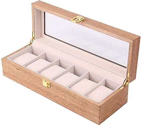 T.T-Q Caja de Reloj de Madera de 6 dígitos Cajas para Relojes Caja de Almacenamiento de Joyas Caja de presentación de Ventana Abierta Caja de joyería de Regalo de cumpleaños 31.5 * 11 * 8 cm