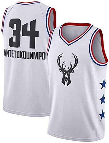YZY NBA Hombres De Jerseys, Milwaukee Bucks # 34 Giannis Antetokounmpo All Star Baloncesto Jerseys, Bordado Transpirable Chaleco Sin Mangas,A,S(165~170CM/50~65KG)