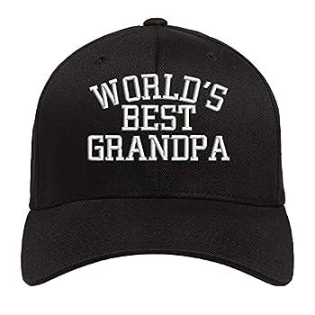 World s Best Grandpa Baseball Hat Embroidered Low Profile Soft Cotton Baseball Cap  Black