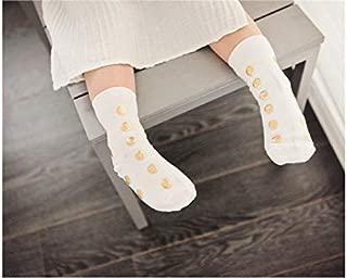 Lovely Socks Children Cotton Socks Kids Autumn and Winter Dots Printing Mid Tube Socks(Black) Newborn Sock (Color : White, Size : S)