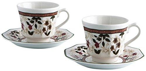 Churchill Assam Estuche de 2 Tazas de café con platillo de 25 cl, Decorado Floral, 2