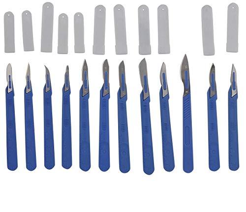 12x Einwegskalpell Klinge je Figur 1x, Kosmetex Sortiment Einmal Skalpelle mit Schutzkappe, einzeln steril verpackt, Mix-Set