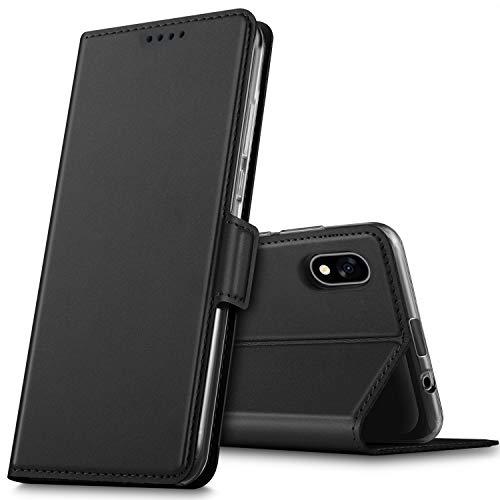 GEEMAI für Wiko Y60 Hülle, handyhüllen Flip Hülle Wallet Stylish mit Standfunktion und Magnetisch PU Tasche Schutzhülle passt für Wiko Y60 Smartphone, Schwarz