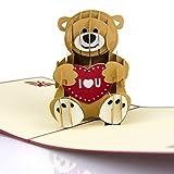 Tarjeta desplegable de oso 3D para el día de San Valentín, día de la madre, baby shower, tarjeta de cumpleaños, tarjeta de graduación, tarjeta de amor, tarjeta de aniversario de boda