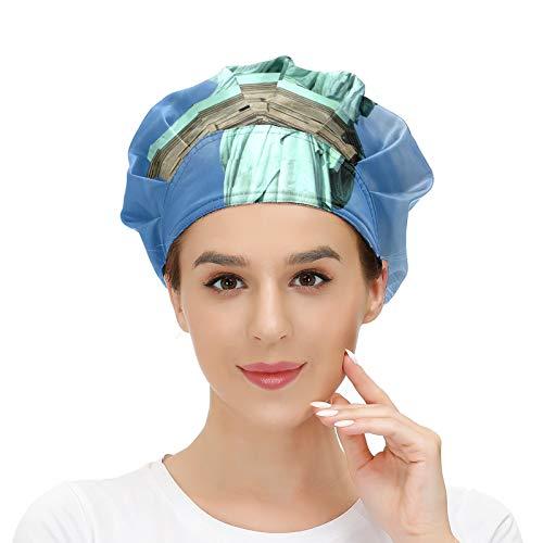 Cappello da donna per capelli lunghi con fascia elastica regolabile da lavoro per uomo Lavoro Testa Sciarpa 3D Cappelli stampati New York Statua della Libertà