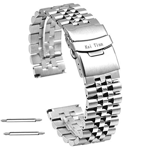 Premium Super 3-Dimensional Effect Acero Inoxidable Banda de la correa de la correa de 20 mm / 22 mm Redondo Redondo Reloj de Metal Pulsera con Cerraduras Doble Buceador Cierre para hombres Mujeres co