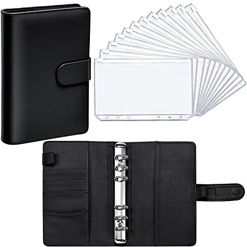 PU Leather Notebook Binder Budget Planner Binder Cover with 12 Pieces Binder Pocket Personal Cash Budget Envelopes System 6 Hole Binder Zipper Folder (Black Cover with Clear Sheet,A6)