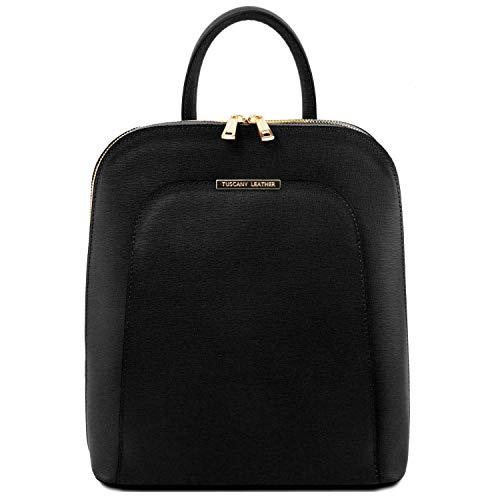 Tuscany Leather TLBag Zaino donna in pelle Saffiano Nero