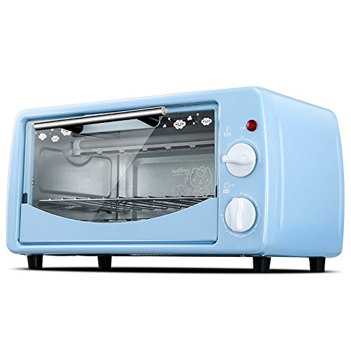 DULPLAY 12L Mini Toaster Oven,Best Convection,Includes Bake Pan, Broil Rack Countertop Oven Polished Stainless Toast Home Kitchen-Blue 36x24x19.5cm(14x9x8inch)