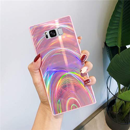 Herbests Kompatibel mit Samsung Galaxy S8 Hülle Glitzer Glänzend Kristall Aurora Bunte Weich Silikon Handyhülle Ultra dünn Schutzhülle TPU Bumper Handytasche Crystal Case Cover,Rosa