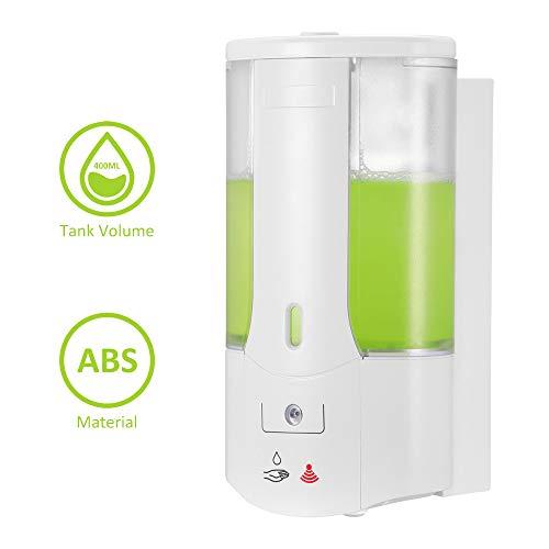 OurLeeme Dispensador de jabón automático de 400 ml Dispensador de jabón de Sensor táctil sin Pared montado en la Pared Desinfectante para Manos Contenedor de champú para baño de Cocina