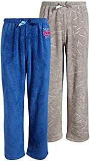 Image of 2 Piece Gray and Blue Soft Fleece Pajama Pants for Girls - See More Sets