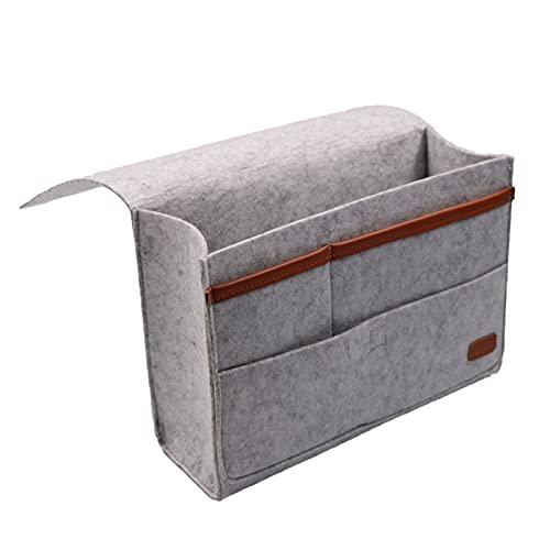 LLS Magazine Holder - Felt Bedside Caddy Storage Bag- Bed Skirt Storage Pocket Organizer for Bedroom, College Dorm Room,Under Mattress Holder Bag (Size : Small)