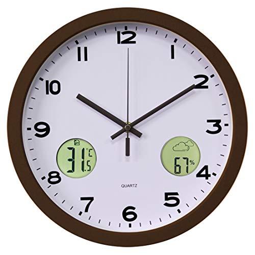 Funkuhr Wanduhr Lautlos, Batop Radio Funkwanduhr Geräuschlos Wanduhr mit Thermometer und Wettervorhersage, 30 cm / 12 Zoll