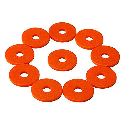 100 Einkaufswagenchips mit 6mm Loch EKW Pfandmarken Wertmarken Farbe Orange + 3 Chiphalter für Schlüsselbund von SchwabMarken