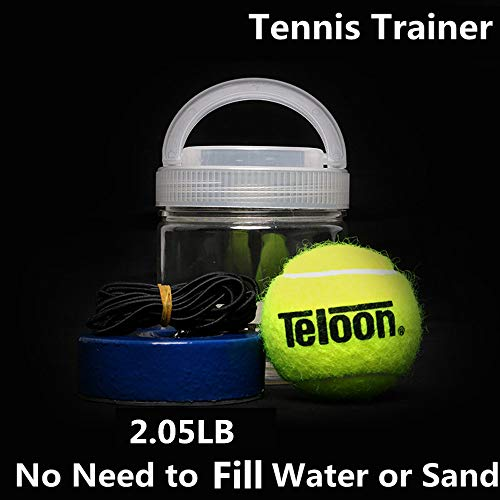 flybomb Portable Tennis Trainer 2.05LB Weight Heavy Iron Base Tennis Training Tool Exercise Tenis Ball Sports Self-Study Rebound Ball Baseboard Sparring Device