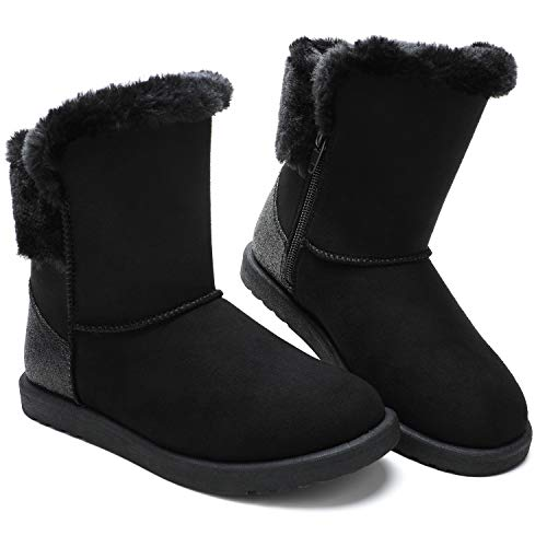 Kids Girl Black Fur Boots
