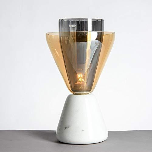 Scra AC Lámpara de mesa con forma de antorcha creativa con base de mármol, LED, para sala de estar, dormitorio, estudio, hotel, club, decoración, luz de 21 x 41 cm
