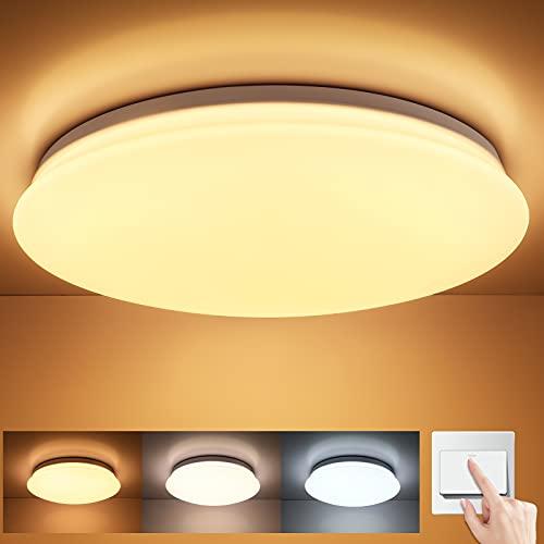 Oeegoo Plafoniera Led Soffitto da 24W 2400LM, Lampada da soffitto a LED dimmerabile, Plafoniera per camera da letto soggiorno ufficio, interruttore da parete, 3000K-4000K-6500K,φ38