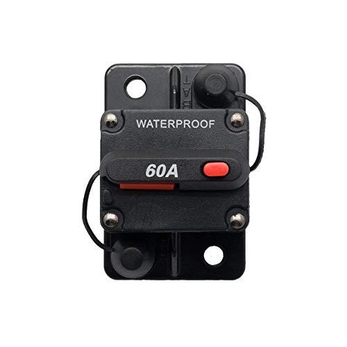 Riloer Interruptor automático de coche con reinicio manual resistente al agua adecuado 60 A 12 V-24 V CC para coche de motor barco marino bicicleta Audio estéreo