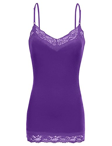 Simlu Lace Camis Cotton Camisole Cami Tank Top Lace Layering Tank Top for Women Purple Small