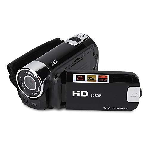 Bewinner Tragbarer Digitaler Camcorder, Full HD-Camcorder Unterstützung 32G Karte 270 ° Rotation 1080P 16X High Definition Video DV Kamera für Home Party, Picknick im Freien, Camping(EU Black)
