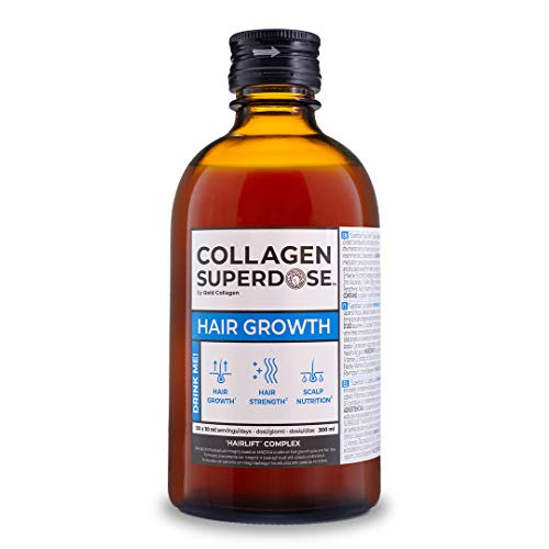Collagen Superdose Hair Growth by Gold Collagen | Patented Liquid Collagen Peptides Drink | Hair Supplement with Keratin for Women & Men | 14 Powerful and Effective Ingredients |30 Day Supply