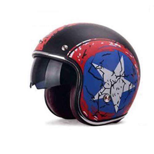 ZHEN Retro Cascos Abiertos para Moto con Gafas De Protección, Cuero Hecho A Mano Cascos Jet Half-Helmet Cascos De La Motocicleta Scooter Motoneta Casco para Adultos Hombres Mujeres ECE Certificado