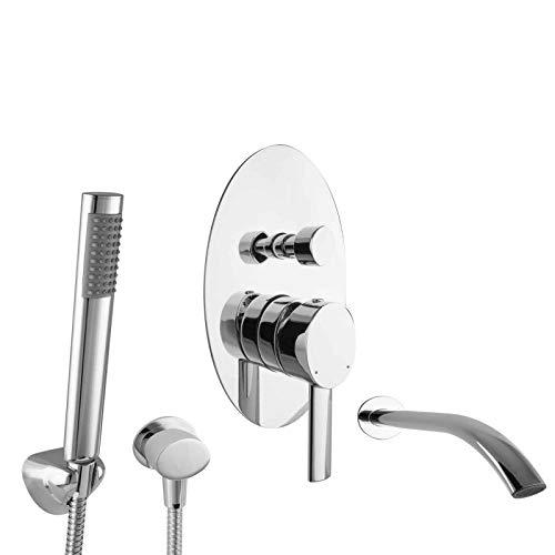 PaulGurkes Unterputz Set für Badewannen Mischbatterie mit Handbrause Wannen Armatur UP Mischbatterie Einhandmischer Komplett Handbrause Wanneneinlauf Wanneneinlass Schwalleinlauf