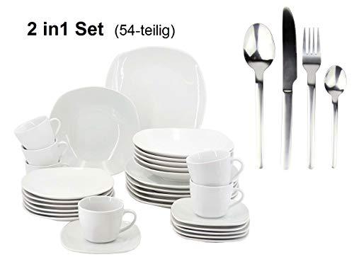 Retsch Arzberg + Hi 2in1 Set - 30-teiliges Kombi-Geschirrset Fino + 24-teiliges Besteckset Edelstahl