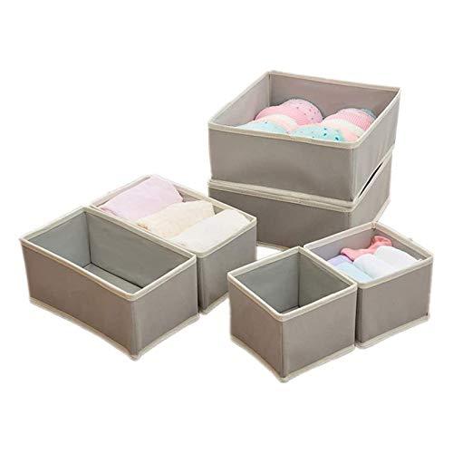 AZYJBF Juego de 6 Cajas Organizadoras – Cestas de Tela Transpirables con Diseño de Espiga para Ropa Interior, Calcetines, Sostenes – Versátiles Organizadores de Cajones para Habitación Infantil