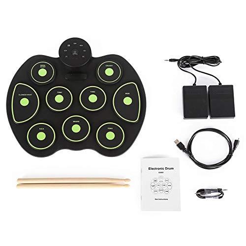 XYL Elektronische Handtrommel elektrisches Schlagzeug Übungspads Tragbar Schlagzeug Doppelpedal Silikonmaterial Echter Angriff Geeignet für Kinderanfänger,Green