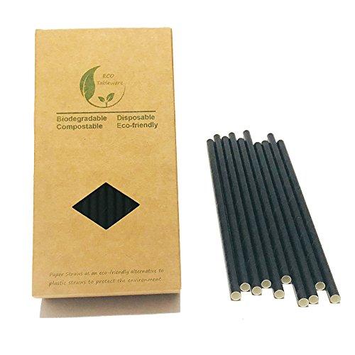 Cannucce di carta, non in plastica, rinnovabili, colore: nero a tinta unita