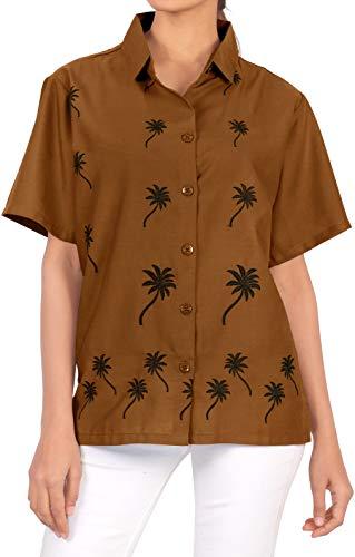 Hawaiano botón de la Camisa Blusas Abajo Las Mujeres relajadas de Vestir de Manga Corta de Color marrón XXL