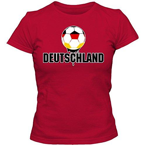 Deutschland WM 2018#4 T-Shirt Fußball Damen Fanshirt Trikot Nationalmannschaft, Farbe:Rot (Red L191);Größe:S