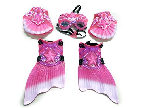 Big Time Princess Mermaid Dress UP Swim Gear, MASK Googles, Web Gloves & Mermaid Flipper, Pink