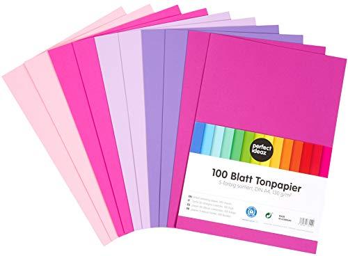 perfect ideaz 100 Blatt buntes DIN-A4 Ton-Papier, Zeichen-Papier bunt, Set aus 5 Farben (lila, pink, rosa, flieder, eosin), bunte Blätter, 130g/m², Bastel-Bogen farbig, Zubehör zum Basteln, DIY-Bedarf