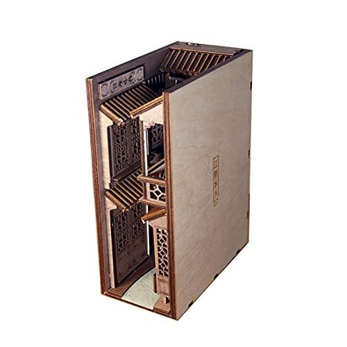 WLALLSS Insertos de Libros de Madera Sujetalibros de Arte Estantería de Bricolaje Decoración Soporte de decoración Modelo de luz Kit de construcción Empalme Creativo