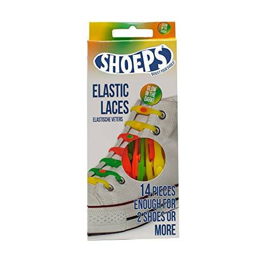 Shoeps Elastic Laces, 14 pieces - Glow in the Dark - Multi-Colour, Regular