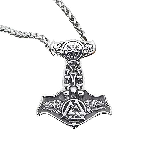 BMT Anhänger Thors Hammer Edelstahl Raben mit Kette Wikinger Halskette Vikings