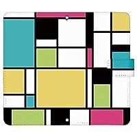 iPhoneSE 第2世代 iPhone SE 2020 ケース [デザイン:3.緑×黄×ピンク/マグネットハンドあり] カラーブロック 手帳型 スマホケース カバー アイフォンse ipse2