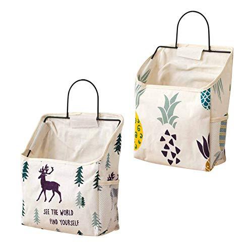 Yemiany 2 pezzi sacchetto di immagazzinaggio in tessuto di cotone di lino con gancio, borsa portaoggetti a parete armadio porta a muro appeso organizer per camera da letto, bagno, cucina(L)