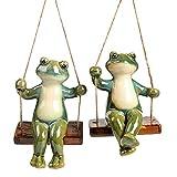 Cabilock 1 Paire de Statues de Grenouille Suspendues Sculptures de Jardin Couple Statues pour La Décoration Statues Romantiques pour La Maison Jardin Patio Et Cadeaux de Mariage de Bureau (Vert)