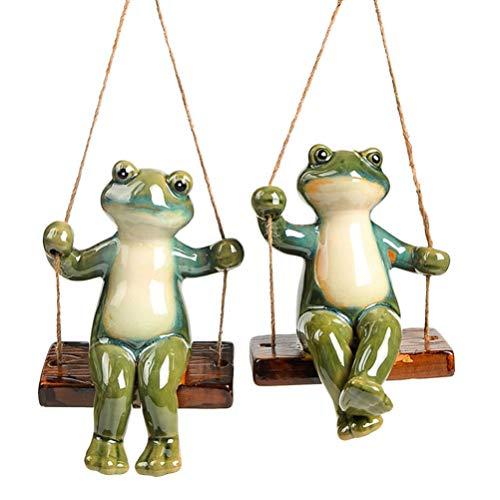 Cabilock Keramik Frosch Figur Statue Sitzen auf Schaukel Auto Armaturenbrett Dekoration Büro Desktop Ornament für Fee Garten Ornament Dekoration