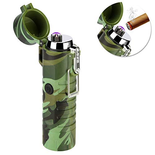 Qimaoo Qimaoo USB Feuerzeug, Elektro Feuerzeug Wiederaufladbar mit Taschenlampe, Lichtbogen Feuerzeug Wasserdicht Winddicht Flammenlos, Plasma Feuerzeug für Zigarren, Küche, Outdoor, Camping Grün-b