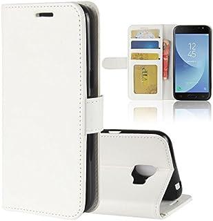 Samsung Galaxy J2 Pro 2018 ケース DISLAND [キャリー オール]カード スロット フリップ レザー超スリム戻る TPU フル カバー ケース,ホワイト