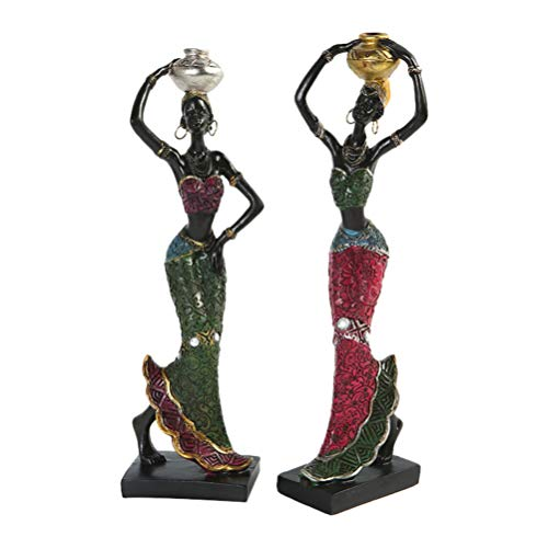 BESPORTBLE African Girl Exotic Figurine Lady Women Ornament Tribal Figurines African American Sculpture Decorative Statue Home Decorations 2pcs