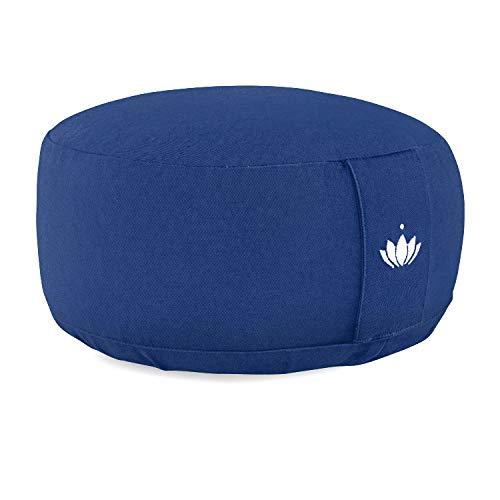 Lotuscrafts Coussin de méditation Lotus - Hauteur d'assise 15 cm - Rembourrage d'épeautre - Housse en Coton Lavable - Coussin Yoga - Coussin de Sol Rond - Meditation Accessoires - Certifié GOTS