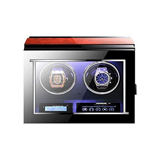 YF Caja de Reloj Colector De Enrollador Automático Inteligente para 2 Relojes - con Motor Mabuchi, Retroiluminación LED, Pantalla LCD Y Control Remoto como un Regalo
