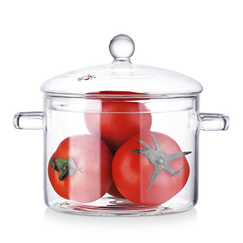 Glass Saucepan with Lid, Heat-Resistant Handmade Glass Cookware Set Clear Stovetop Cooking Pot - Safe for Pasta Noodle, Soup, Milk, Baby Food (1800ML)